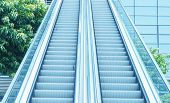 blue diminishing escalator