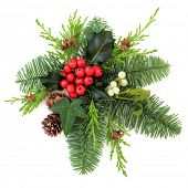 Christmas floral decoration with holly, ivy mistletoe, fir and pine cones over white background.