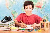 Young Boy Doing His Homework
