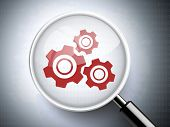 Magnifying Glass With Gears Icon