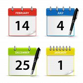 Calendar Web Colored Icons Template