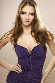 Portrait of sexy young adult brunette woman posing in violet dress.