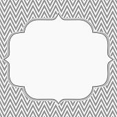 stock photo of chevron  - Gray and White Chevron Zigzag Frame Background with center for copy - JPG