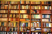 foto of book-shelf  - Shelf with books - JPG