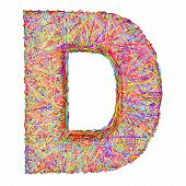 Alphabet Symbol Letter D Composed Of Colorful Striplines