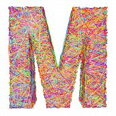 Alphabet Symbol Letter M Composed Of Colorful Striplines