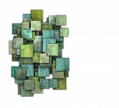 3D Green Square Tile Grunge Pattern On White