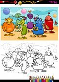 Funny Aliens Cartoon Coloring Book