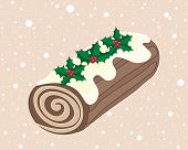 pic of yule  - an illustration of a christmas chocolate yule log with cream swirl frosting and holly decoration on a snowy background - JPG