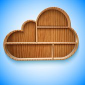 Cloud wood shelves and shelf design on wall, vector illustration