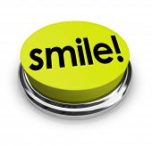 Smile word on a yellow 3d button sharing funny humor and good spirits to spread cheer