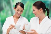 Beautiful friends in bathrobes drinking herbal tea on blue and green background
