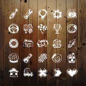 Icons Set of Car Symbols on Wood Texture