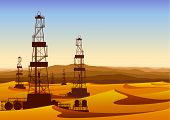 Landscape whith oil rigs in barren desert with sand dunes.