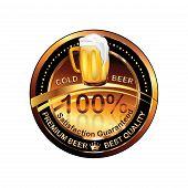 Beer label / rubber / stamp -brown vector illustration