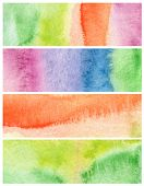 Set of abstract acrylic and watercolor painted background. Paper texture.