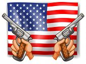 Illustration of American flag with guns