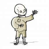 cartoon skeleton waving