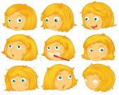 Illustration of different emotions of a blonde hair girl