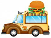 Illustration of a vehicle selling burgers on a white background