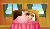 Illustration of a girl sleeping in a bedroom