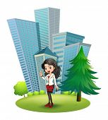 Illustration of a woman outside the big buildings on a white background