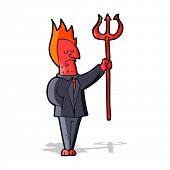 cartoon devil with pitchfork