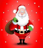 Smiling Cartoon Santa Claus illustration greeting card eps10