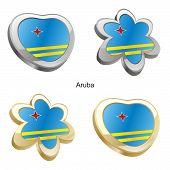 aruba flag in heart and flower shape