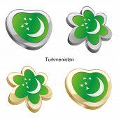 turkmenistan flag in heart and flower shape