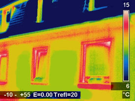 stock photo of thermal  - Thermal image Picture of a residential house - JPG