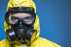 pic of respirator  - A scientist wearing a biological suit during an outbreak - JPG