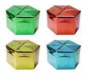 Gift boxes set isolated on white background.