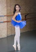 Beautiful Hispanic Teenage ballerina dancer full length