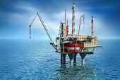 stock photo of offshoring  - Drilling offshore Platform in sea - JPG