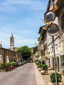 Street scene in hill town Assisi, Italy