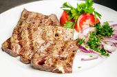 image of liver fry  - fried beef liver with vegetables - JPG