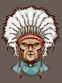 Illustration of an Indian Man Wearing an Elaborate Headdress