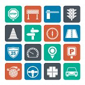 Silhouette Road and Traffic Icons