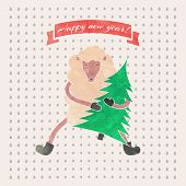 picture of applique  - Watercolor vector New Year and Christmas print - JPG
