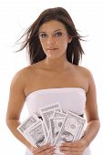 gorgeous model showing off money