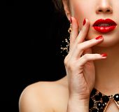 pic of  lips  - Red Sexy Lips and Nails closeup - JPG