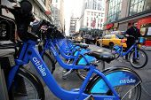 NEW YORK CITY - MONDAY, DEC. 29, 2014: A Citi Bike station in midtown Manhattan. Citi Bike is a privately owned public bicycle sharing system that serves parts of New York City.
