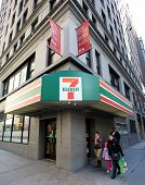 NEW YORK CITY - MONDAY, DEC. 29, 2014: 7-Eleven or 7-11 is an international chain of convenience stores. 7-Eleven is the world's largest operator of convenience stores