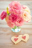 Love Vintage Background - Beautiful Flowers and Two Handmade Hearts, light colored