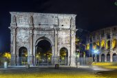 stock photo of arch  - The Arch of Constantine is a triumphal arch in Rome situated between the Colosseum and the Palatine Hill Italy Evening - JPG