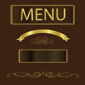 Menu Vector-Brown And Gold Menu Cover For A Gourmet Restaurant