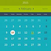 picture of february  - Calendar 2015 February  flat vector design template - JPG