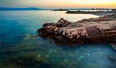 Sunset on Novi Vinodolski beach, Croatia. Long exposure photography