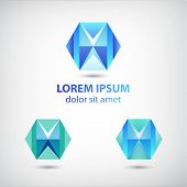 set of vector crystal abstract geometric polygon logos